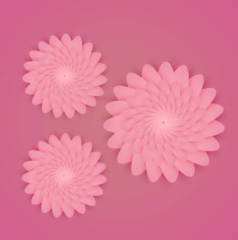 Coloridas flores con borde blanco y hojas, ilustración vectorial