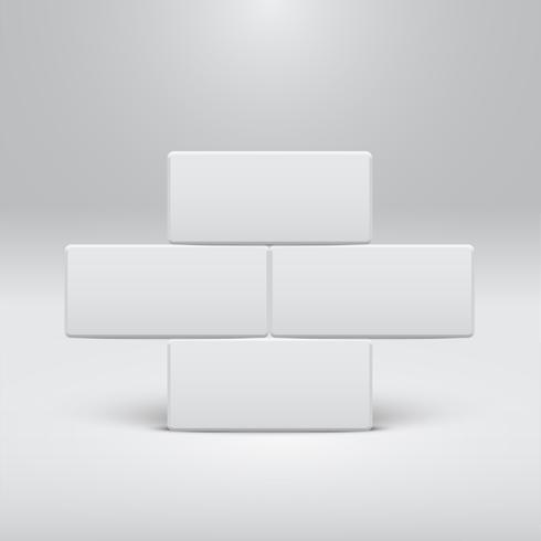 Weiße Schablone für Website oder Produkte, realistische Vektorillustration