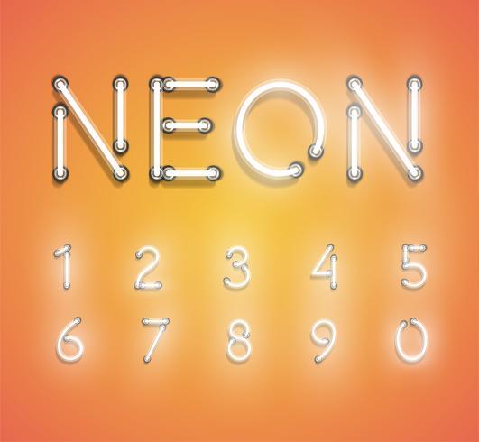 Conjunto de neón realista, ilustración vectorial vector
