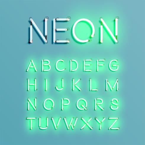 Jeu de polices de caractère réaliste néon, illustration vectorielle vecteur