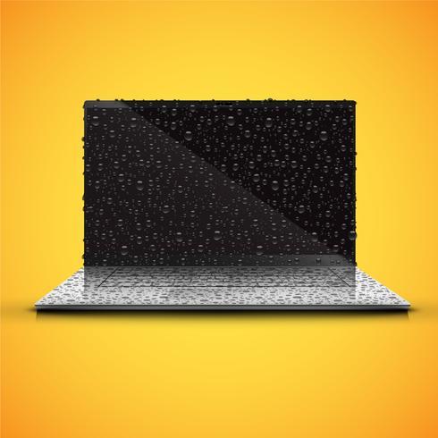 Cuaderno aislado realista con pantalla negra brillante, con gotas de agua, ilustración vectorial