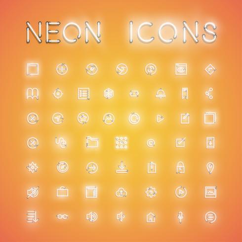 Ícone de néon realista brilhante definido para web, ilustração vetorial