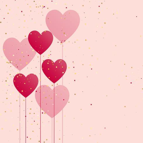 hjärtan ballong med gyllene konfetti