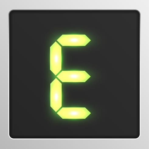 Conjunto de caracteres digital tipo de letra em uma tela, ilustração vetorial vetor