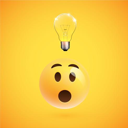 Wundernder smiley mit einer Glühlampe zeigt eine Idee, Vektorillustration