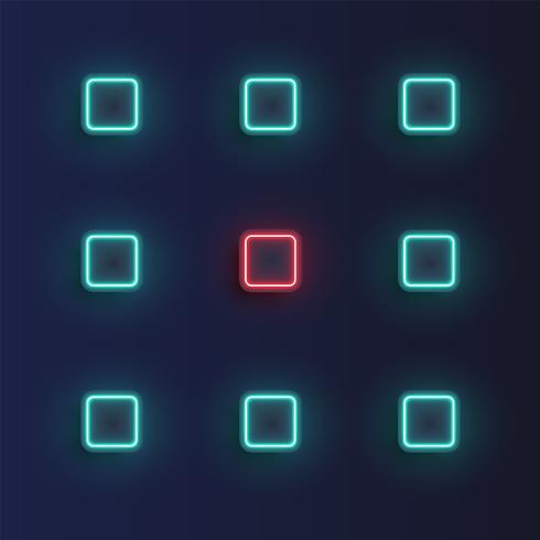 High-detailed neon buttons background, vector illustration