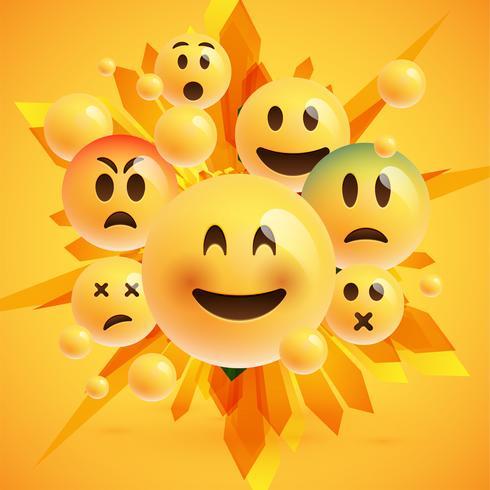 Emoticonos amarillos con fondo abstracto, ilustración vectorial vector