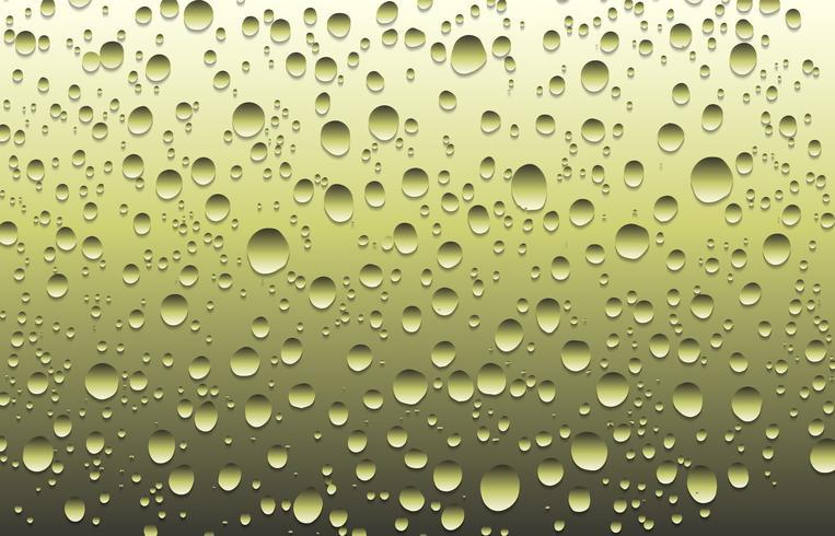 Gotas de água realista sobre um vidro liso, ilustração vetorial