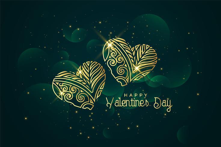 konstnärliga gyllene hjärtan valentines dag bakgrund