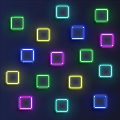 Fundo de botões de néon alta detalhado, ilustração vetorial