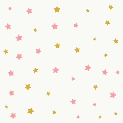Patrón de estrellas en estampado dorado y rosa.