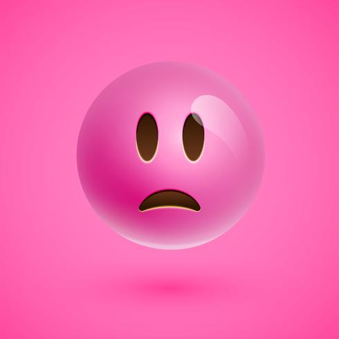 Emoticon realista rosa cara sonriente, ilustración vectorial