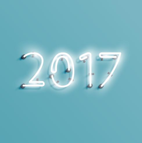 Néon 2017 brillant signe, illustration vectorielle vecteur