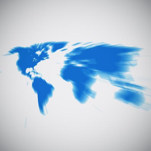 Världskarta med fokus på Nordamerika, vektor illustration
