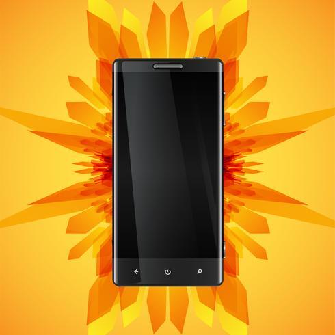 Fondo abstracto amarillo y un teléfono inteligente realista para negocios, ilustración vectorial vector