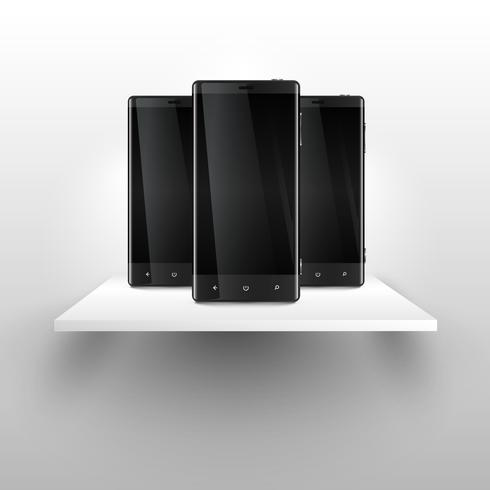 Three mobile phones on a shelf, realistic vector illustration