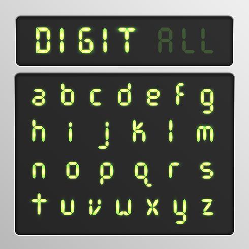 Conjunto de caracteres digitales de un tipo de letra en una pantalla, ilustración vectorial vector