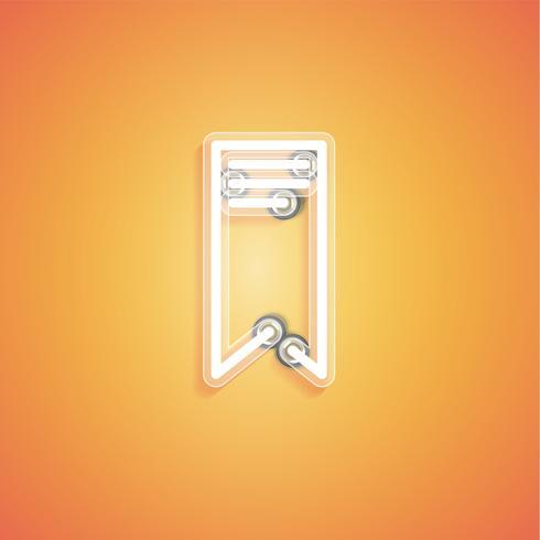 Glühende realistische Neonikone für Netz, Vektorillustration