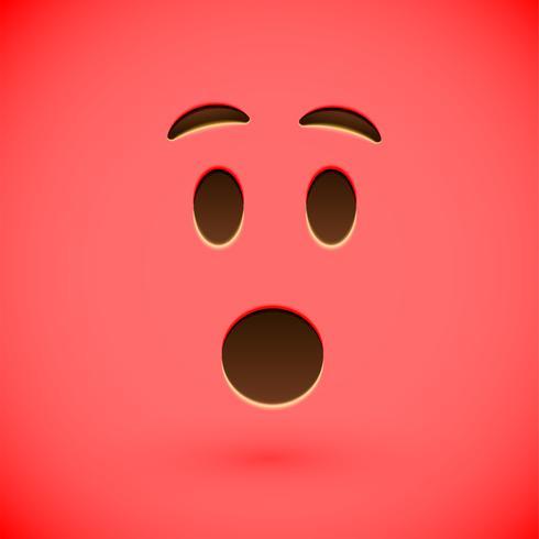 Red realistic emoticon smiley face, vector illustration