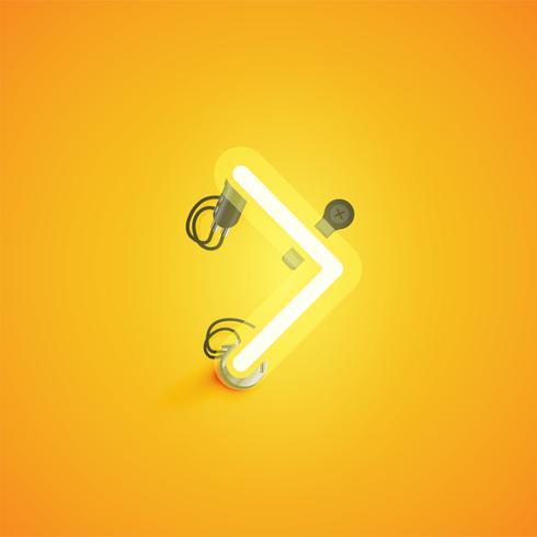 Personagem de néon realista amarelo com fios e console de um fontset, ilustração vetorial vetor