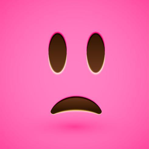 Roze realistische emoticon smileygezicht, vectorillustratie