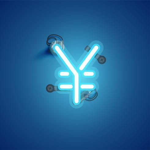 Personagem de néon azul realista com fios e console de um fontset, ilustração vetorial vetor