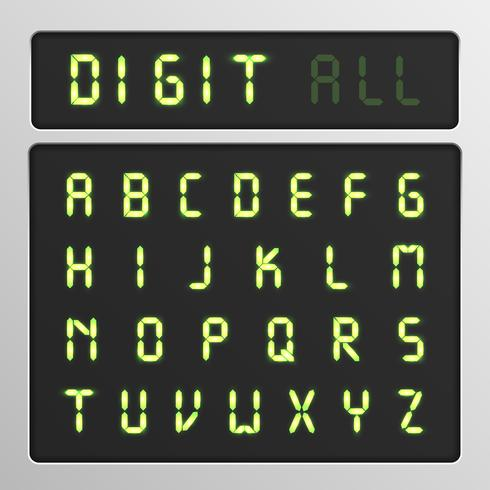 Conjunto de caracteres digitais de um tipo de letra em uma tela, ilustração vetorial vetor