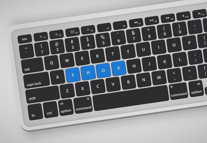 Las letras en el teclado forman una palabra, ilustración vectorial vector