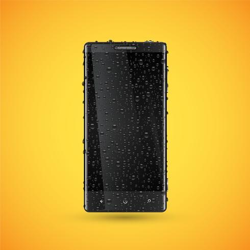 Svart realistisk mobiltelefon med waterdrops, vektor illustration