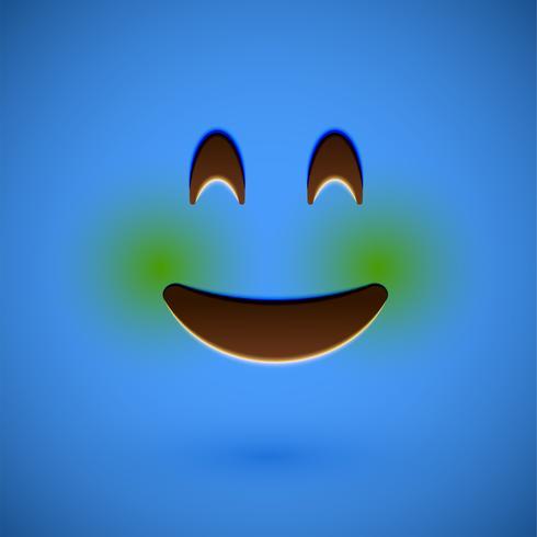 Visage souriant émoticône réaliste bleu, illustration vectorielle