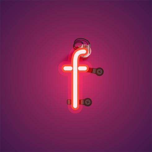 Personagem de néon vermelho realista com fios e console de um fontset, ilustração vetorial vetor