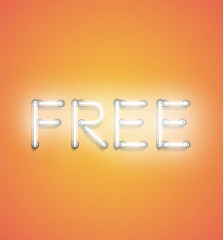 FREE' - Realistic neon sign, vector illustration - Download