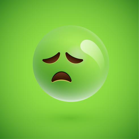 Grünes realistisches Emoticonmileygesicht, Vektorillustration