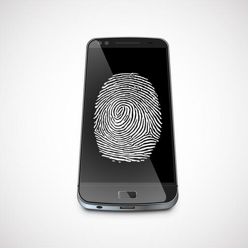 Fingerprint on a realistic smartphone's screen, vector illustration