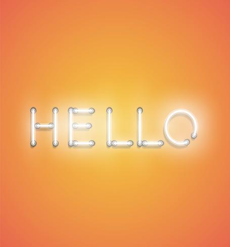'Olá' - sinal de néon realista, ilustração vetorial