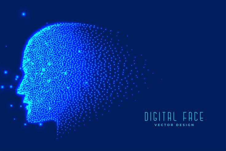 digital teknik ansikte gjord med partiklar för artificiell intelligens bakgrund