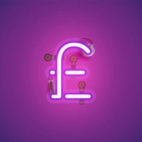 Roze realistisch neonkarakter met draden en console van een fontset, vectorillustratie