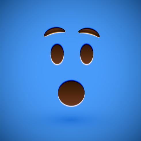 Blå realistisk uttryckssymbol smiley ansikte, vektor illustration