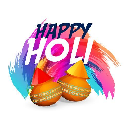 happy holi colors splash with matki background