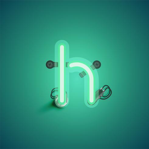 Personagem de néon verde realista com fios e console de um fontset, ilustração vetorial vetor