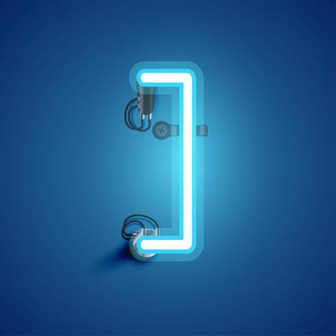 Blauw realistisch neonkarakter met draden en console van een fontset, vectorillustratie