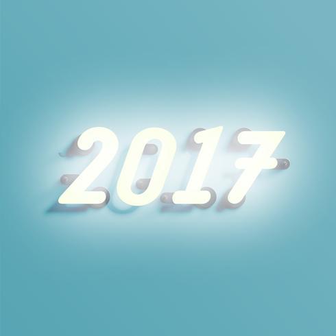 Neon 2017 schijnteken, vectorillustratie