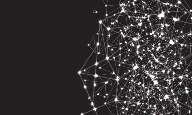Fondo colorido abstracto poligonal con puntos y líneas conectadas, estructura de conexión, fondo futurista hud, imagen de alta calidad con partes borrosas vector