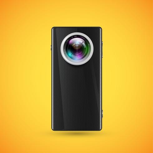 Celular realista preto com um objetivo de câmera, ilustração vetorial