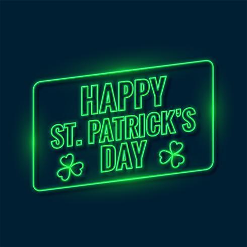 Felice Giorno Di San Patrizio Scritto Con Sfondo Verde Neon Chiaro
