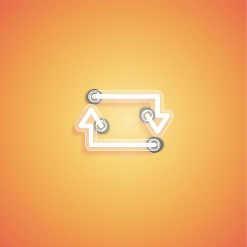 Ícone de néon realista brilhante para web, ilustração vetorial vetor