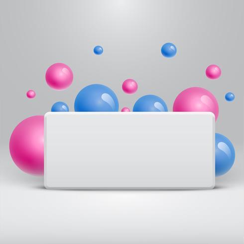 Plantilla blanca en blanco con bolas de colores flotando alrededor de publicidad, ilustración vectorial