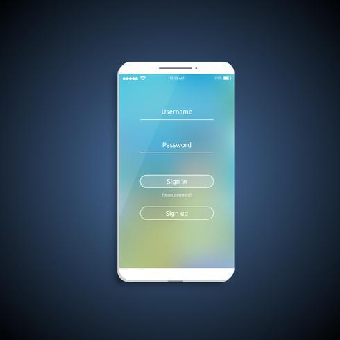 Surface de l'interface utilisateur simple et colorée pour smartphone - Écran de connexion, illustration vectorielle