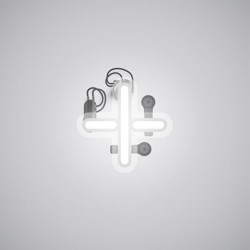 Grauer realistischer Neoncharakter mit Drähten und Konsole von einem fontset, Vektorillustration
