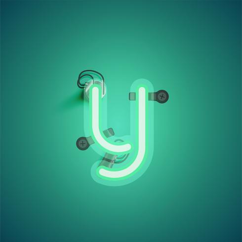 Grüner realistischer Neoncharakter mit Drähten und Konsole von einem fontset, Vektorillustration